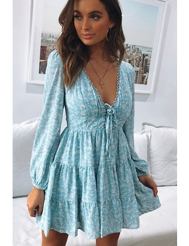 Running To The Sea Dress   Blue Print by Stelly