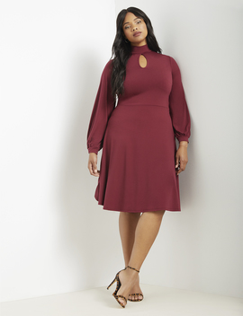 Keyhole Fit & Flare Dress by Eloquii