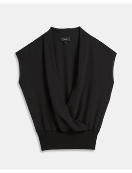 Silk Combo Draped Top by Theory