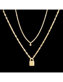 Lock Necklace + Sapphire Choker by Mejuri