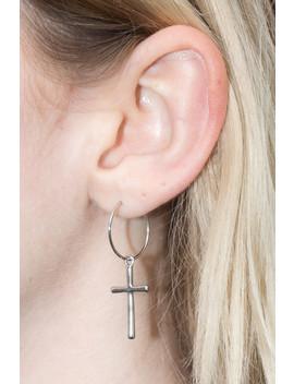 Silver Cross Charm Hoop Earrings by Brandy Melville
