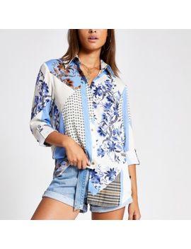 Blauw Boyfriend Overhemd Met Print by River Island
