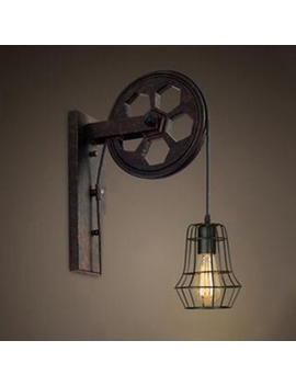 Industrial Wall Sconce With Hanging Cord And Metal Cage, Black by Beautiful Halo