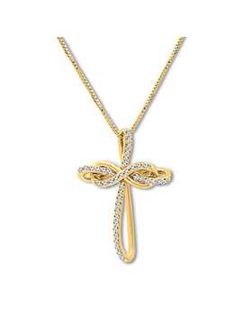 Diamond Cross Necklace 1/4 Ct Tw Diamonds 10 K Yellow Gold by Kay Jewelers