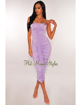 Lilac Ruched Strapless Midi Dress by Hot Miami Style