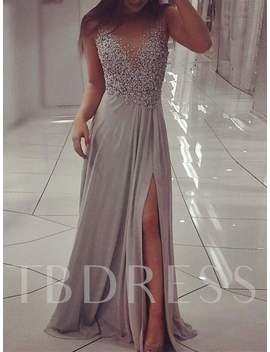A Line Beading Scoop Long Split Front Evening Dress by A Line Beading Scoop Long Split Front Evening Dress
