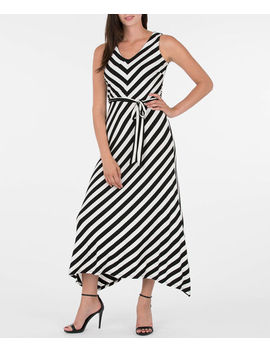 Sleeveless Mitered Stripe V Neck Dress by Ricki's