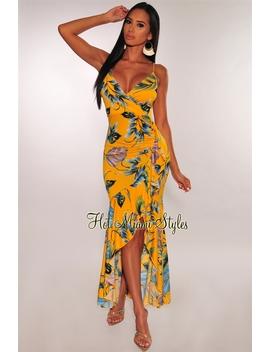 Yellow Green Palm Print Ruffle Hem Maxi Dress by Hot Miami Style