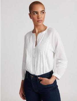 Embroidered Sleeve Shirting by Lucky Brand