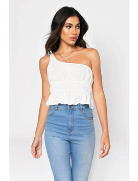 Name Another White One Shoulder Crop Top by Tobi