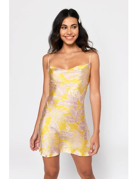 Polly Yellow Floral Satin Cowl Neck Shift Dress by Tobi