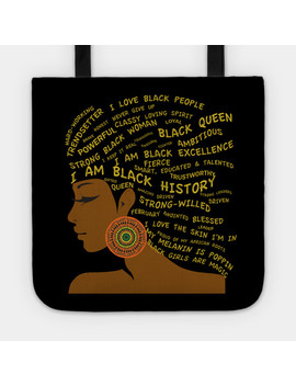 I Am Black History & Excellence Hair Word Art Tote by Tee Public