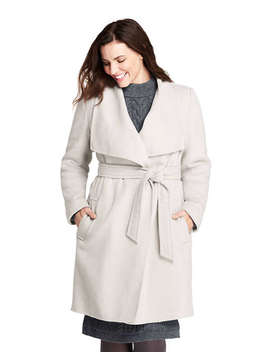 Women's Plus Size Belted Long Wool Coat by Lands' End