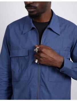 Zip Front Overshirt Dogtooth Navy by The Idle Man