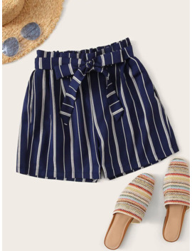 Striped Print Paper Bag Belted Shorts by Romwe