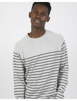 Stripe Raglan Knitted Jumper Grey by The Idle Man