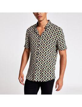 Zwart Slim Fit Overhemd Met Korte Mouwen En Geometrische Print by River Island