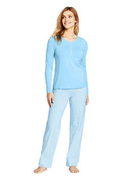 Women's Lightweight Cotton Modal Pajama Sleep Set Print Long Sleeve by Lands' End