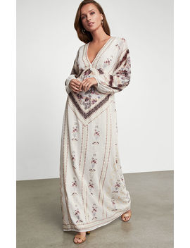 Embroidered Deep V Maxi Dress by Bcbgmaxazria