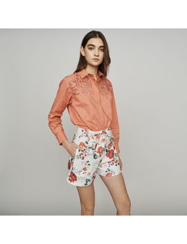Floral Print Denim Shorts by Maje
