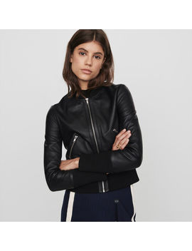 Leather Jacket With Rib Knit Trim by Maje