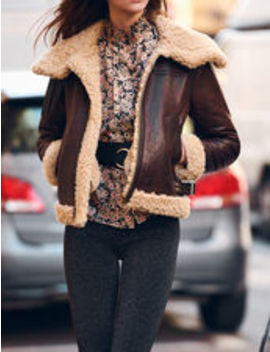 Shearling Lined Leather Jacket by Sandro Eshop