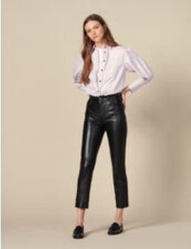 Straight Leather Trousers With Seaming by Sandro Eshop
