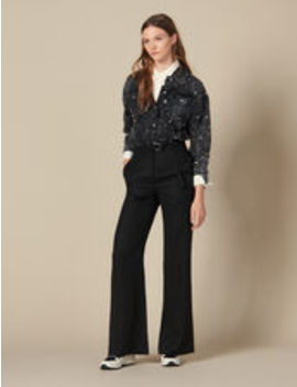 High Waisted Wide Leg Trousers by Sandro Eshop