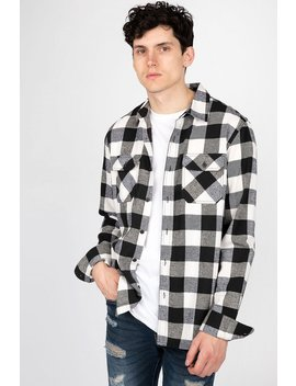 Mens Button Front Buffalo Plaid Flannel by Bluenotes