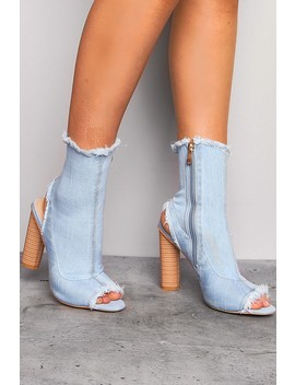 Light Blue Frayed Denim Cut Out Boots by Lasula