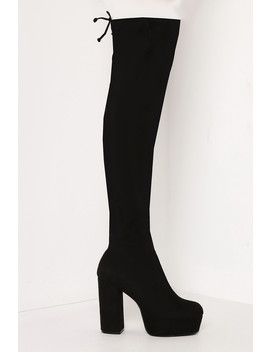 Black Faux Suede Thigh High Platform Boots by Lasula