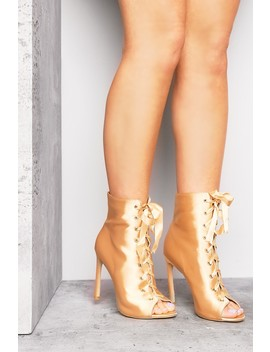 Gold Satin Lace Up Heeled Boots by Lasula