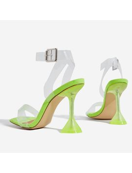 Marca Barely There Square Toe Perspex Heel In Lime Green Faux Suede by Ego