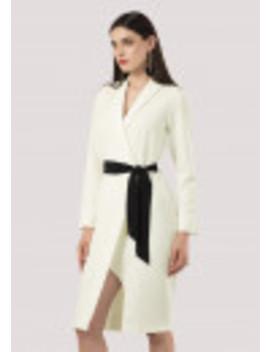 Ivory Lapel Wrap Tie Belt Dress by Closet