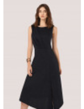 Navy With Gold Specks A Line Dress With Split by Closet