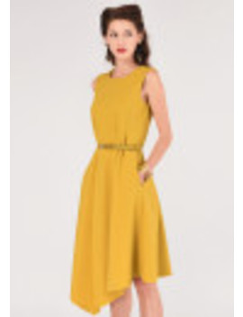 Mustard Asymmetric Hem Dress by Closet