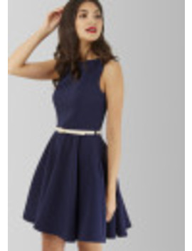 Navy Skater White Belted Dress by Closet