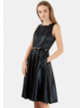 Black Metallic Textured Belted Skater Dress by Closet