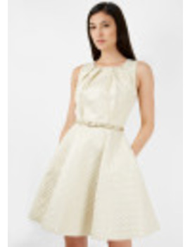 Gold Pleated Neck Metallic Jacquard Belted Skater Dress by Closet