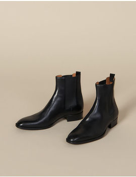 Smooth Leather Chelsea Boots by Sandro Paris