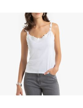 Plain Cotton V Neck Top With Lace Straps by Anne Weyburn