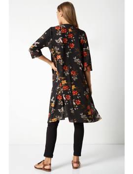 Floral Longline Jacket Kimono by Roman Originals