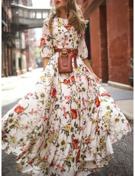 White Flower Floral Draped Flowy Elbow Sleeve Bohemian Beach Vacation Maxi Dress by Cichic