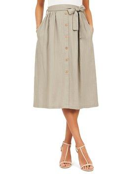 Linen Blend Midi Skirt by Suzy Shier
