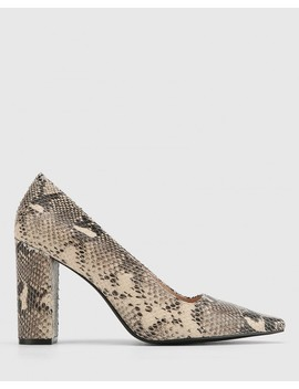 Havier Ecru Sliced Snake Leather Snib Toe Block Heel by Wittner