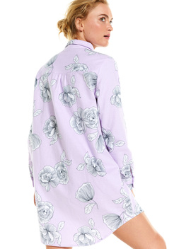 Lilac Floral Flannelette Nightshirt by Peter Alexander