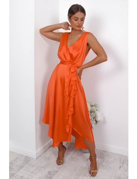 How Frilling   Dress In Orange by Dlsb