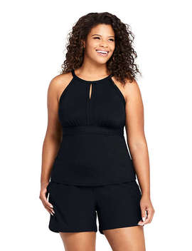 Women's Plus Size Keyhole High Neck Tankini Top Swimsuit by Lands' End