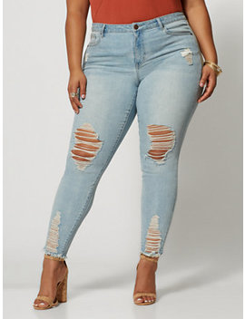 Mid Rise Light Wash Destructed Skinny Jeans   Regular Inseam by Fashion To Figure