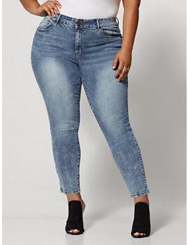Acid Wash Premium Mid Rise Skinny Jeans   Ankle Length by Fashion To Figure